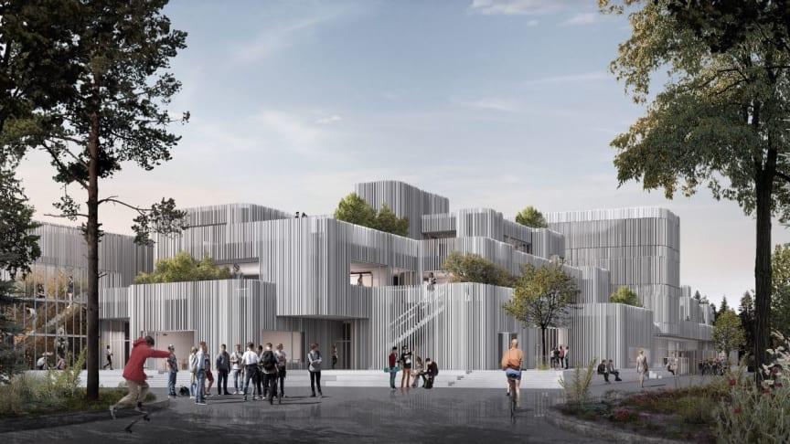 Visualisering af gymnasiet set fra P-pladsen - lavet af KANT.