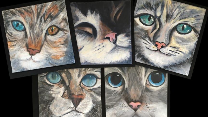 """De fem skønne og originale værker fra """"Malerpigerne""""."""