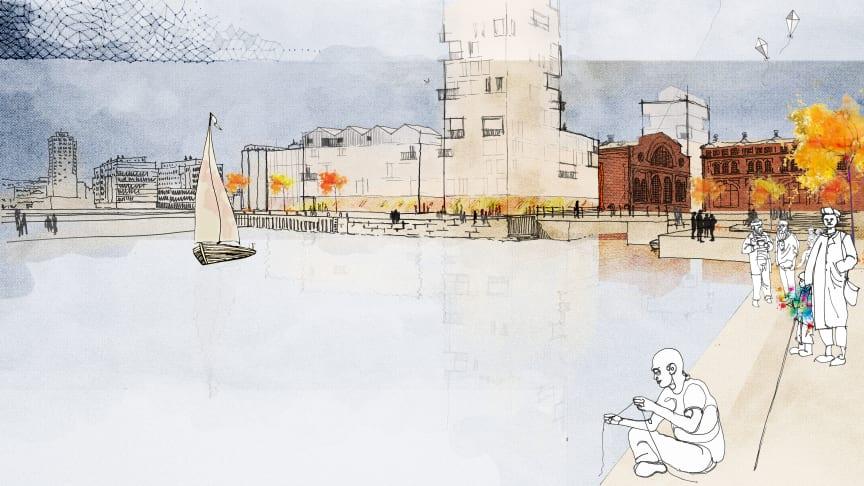 Visionsbild över kajstråket i Varvsstaden. Illustration: Atelier 01 arkitektur