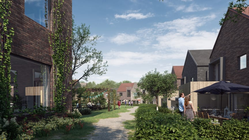 Några av de olika hustyperna i Almelund, Kävlinge.