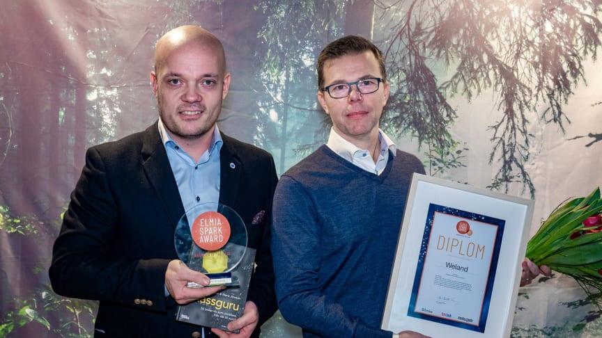 """Weland AB är 2019 års vinnare av Elmia Spark Award i kategorin """"Innovator of the Year"""", årets nytänkare, för sin monter på Elmia Subcontractor."""