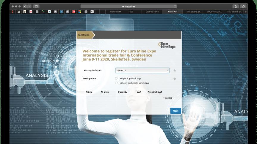 Registration form, Euro Mine Expo 2020.