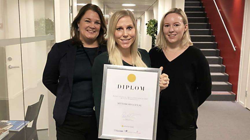 Britta von Schoultz, kommunikationschef, Anna Persson, ansvarig för Mitt Riksbyggen och Aurora Ruuskanen, chef för Riksbyggens webbgrupp.