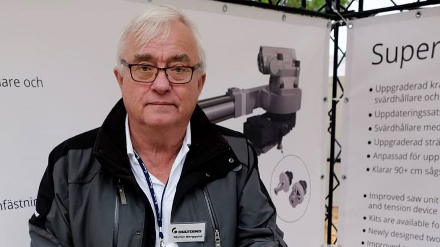 """The new saw unit makes life easier for harvesting head manufacturers and is more reliable for contractors,"" says Stefan Bergqvist of Hultdins. Photo: Elmia AB"