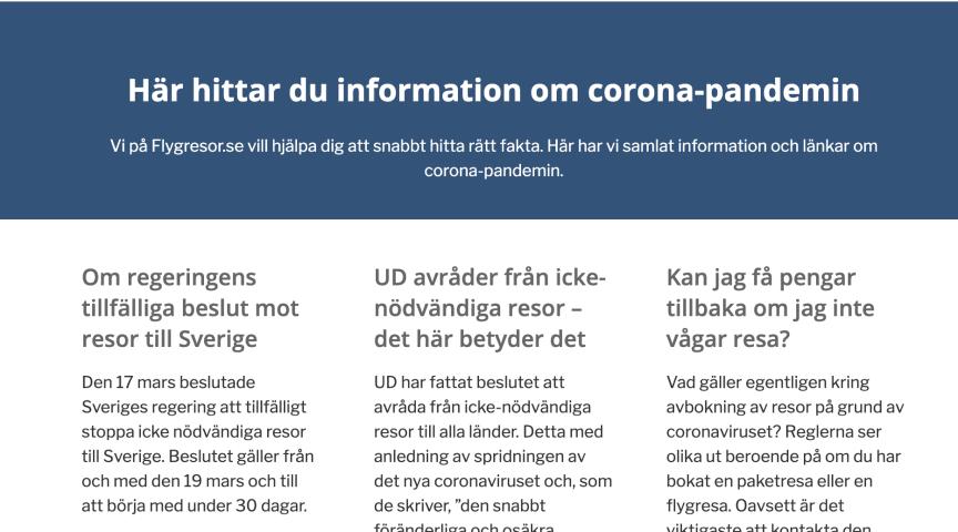 Flygresor.se lanserar en information sida om den pågående corona-pandemin. https://www.flygresor.se/corona-covid-19/