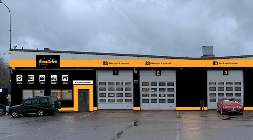 BestDrive-liiketilat pohjaavat Continentalin näyttävään oranssimustaan värimaailmaan.
