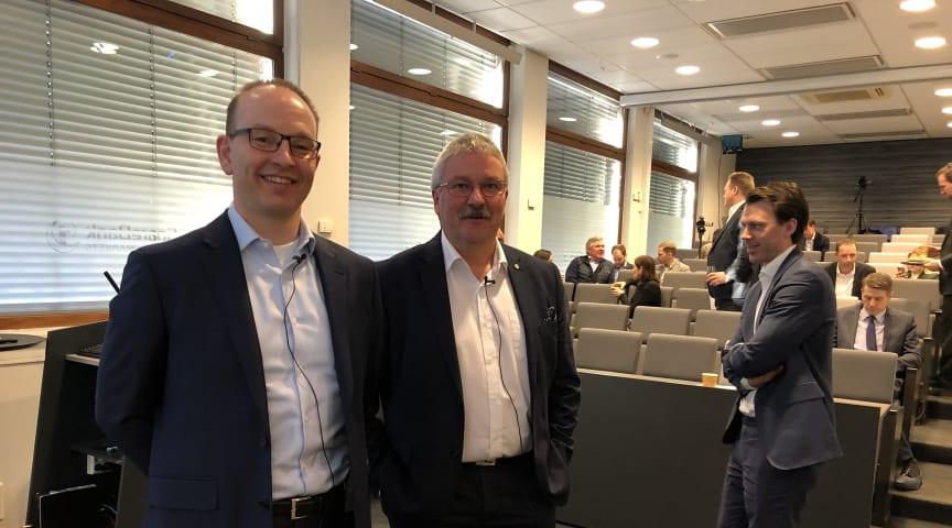 Finansdirektør Geir-Egil Bolstad og konsernsjef Richard Heiberg er svært fornøyd med bankens nye rating fra Moody's.
