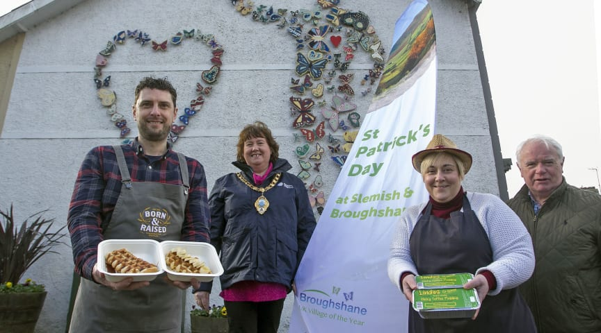 Mayor of Mid and East Antrim, Councillor Maureen Morrow along with Lexie Scott, (Broughshane Community Association), Michael Henderson, (Born & Raised Waffles) and Linda Devecchis, (Linda's Original).