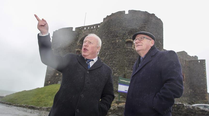 Cllr Robin Stewart and Alderman Billy Ashe MBE at Carrickfergus Castle