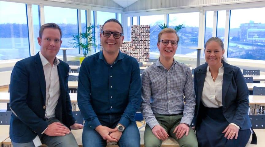 Daneel Munthe, Andreas Hallberg, Martin Widegren och Linda Ekdahl är en del av teamet på Hogia som har arbetat med upphandlingen.