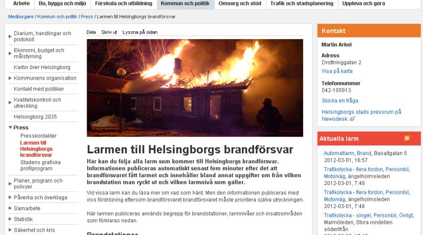 Nu kan Helsingborgarna följa brandförsvarets larm i realtid