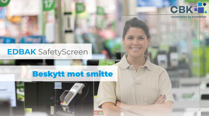 BESKYTT MOT SMITTE: Edbak Safety Plexi Screen beskytter kunder og ansatte mot smitte.
