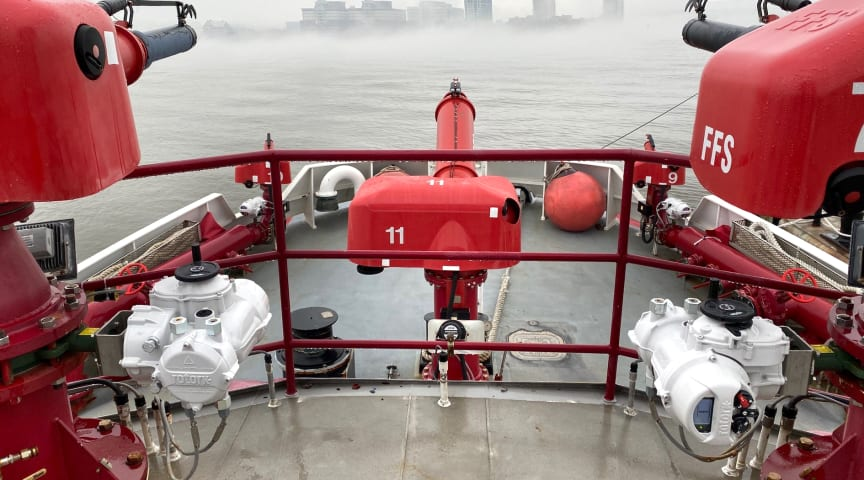 IQ part-turn intelligent actuators installed on the New York City Fire Department's fireboats.