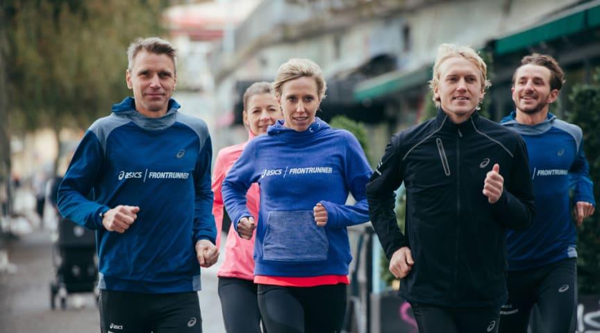 Jonas Buud, Lisa Nordén och David Nilsson är medlemmar i ASICS FrontRunner. Foto: Luca Mara