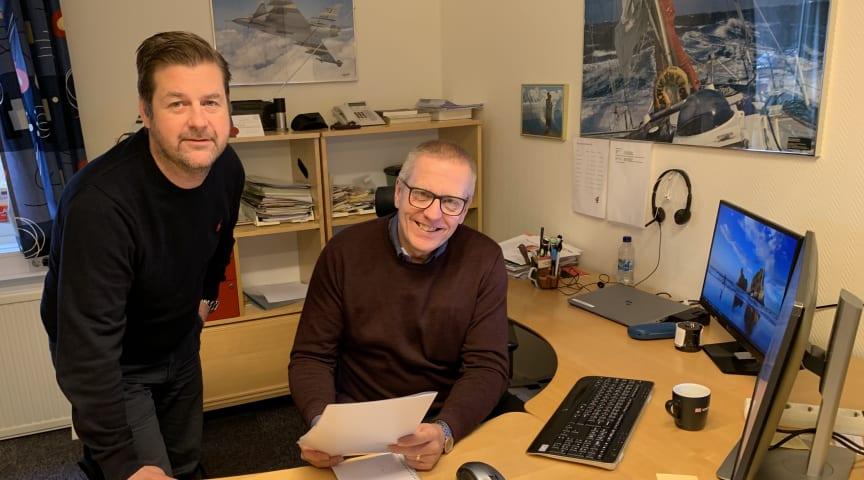 t.v. Fredrik Gryth, Support- och installationstekniker tillsammans med Lars Djuvfeldt, Försäljningschef.