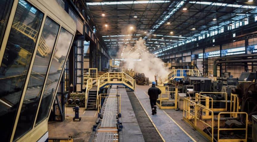 Ståltillverkning i norra Italien på stålverket Ferriere Nord S.p.A.