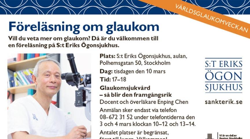 S:t Erik föreläser under Världsglaukomveckan