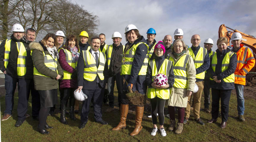 Mayor of Mid and East Antrim, Councillor Maureen Morrow, cuts the first sod at the site of the new Pavilion.