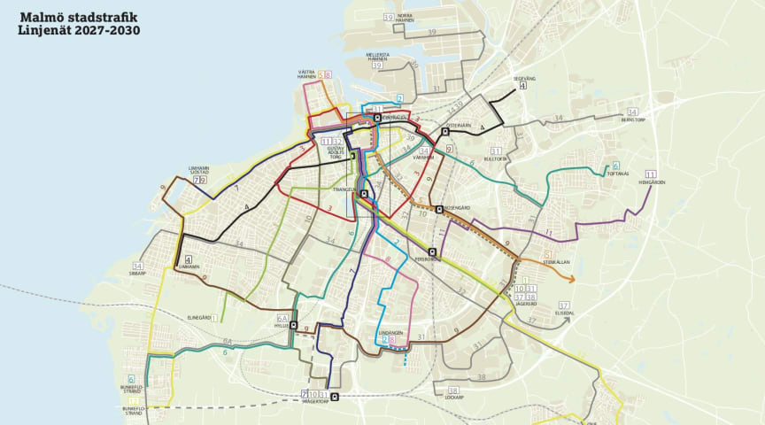 Planerat linjenät för stadsbussar i Malmö 2027-2030