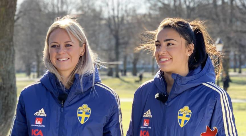Amanda Ilestedt (back) och Zećira Mušović (målvakt)