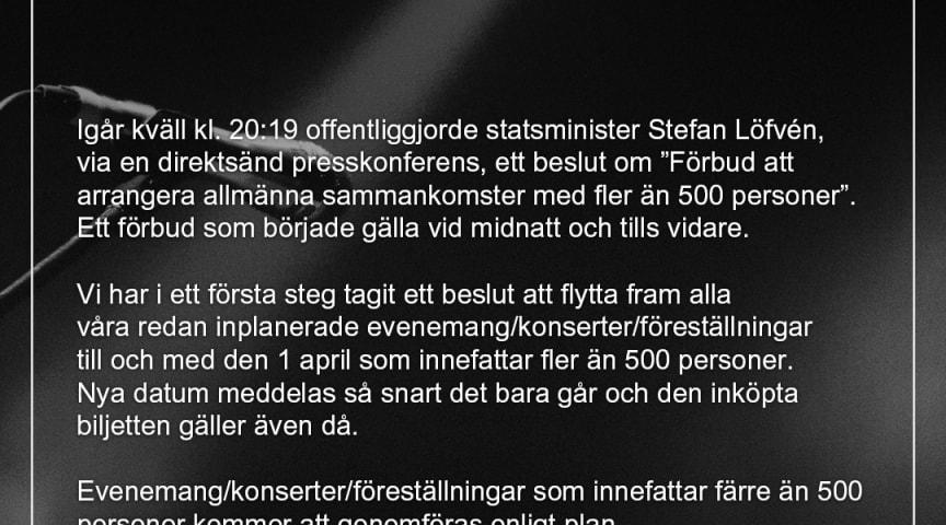 """Blixten & Co och All Things Live Sweden följer Folkhälsomyndighetens och regeringens beslut om """"Förbud att arrangera allmänna sammankomster med fler än 500 personer"""""""