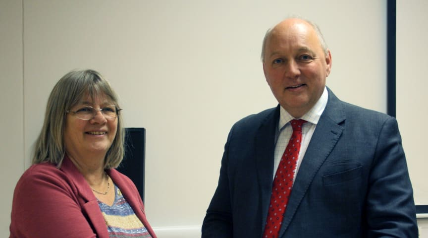 Professor Becky Strachan, Deputy Faculty Pro Vice-Chancellor of Northumbria University's Faculty of Engineering and Environment, pictured with Nick Baveystock, ICE Director General.