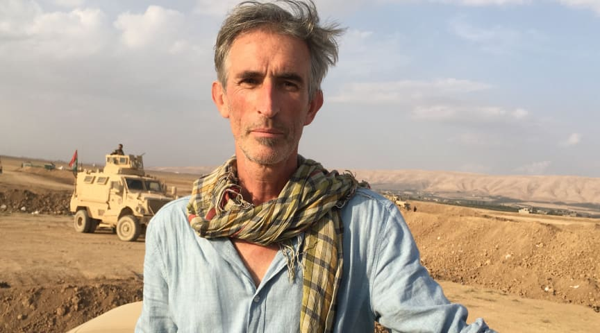Portrait of Francis Alÿs, Peshmerga embed Mosul 2016. Photo by? Courtesy the artist, David Zwirner, and the Power Station of Art.