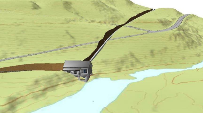 Illustrasjon av kraftverksbygget til Hinøgla kraftverk i Nord-Fron kommune