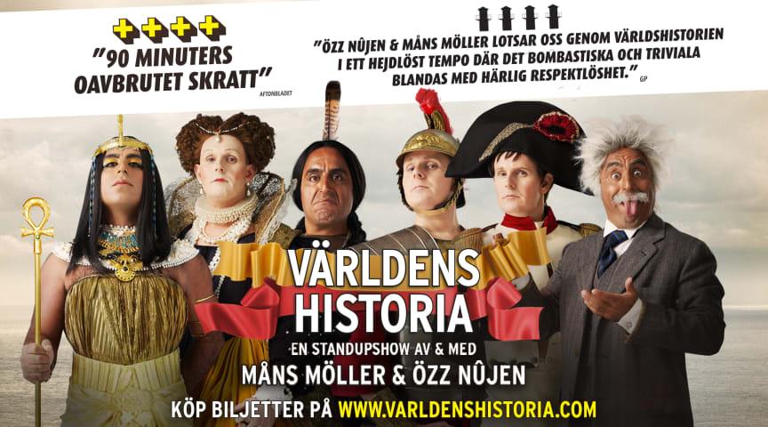 """Özz Nûjen & Måns Möller förlänger sin eriksgata – nypremiär av föreställningen """"Världens Historia""""."""