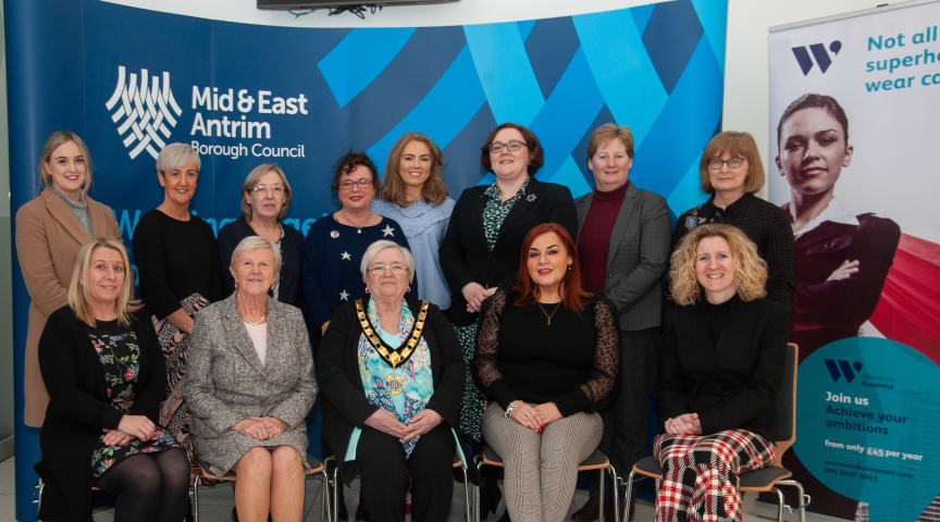 Deputy Mayor, Cllr Beth Adger MBE, with Council Chief Executive, Anne Donaghy, elected members and staff, and Clare Gallagher from Women in Business