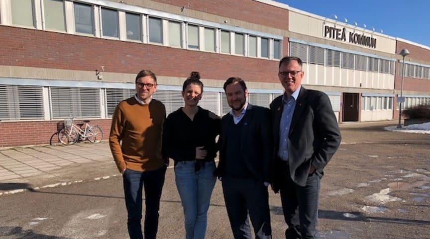 Nicklas Larsson, Lisa Hellmér, Tobias Lindfors och Anders Lundkvist uppmanar Piteåbor att handla lokalt.