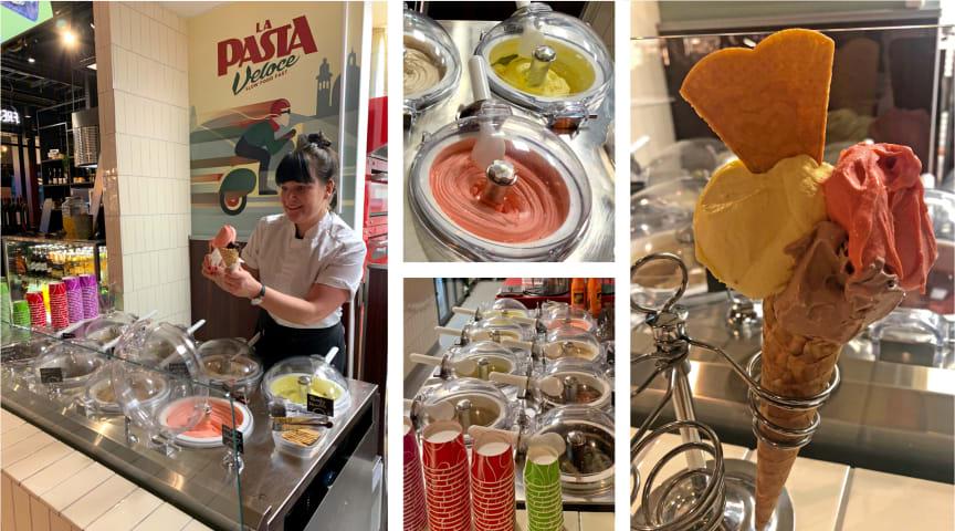 Här serveras färsk glass direkt ur glassmaskinen framför kunderna!  - Lyckad nyhet i La Pasta Veloces sortiment