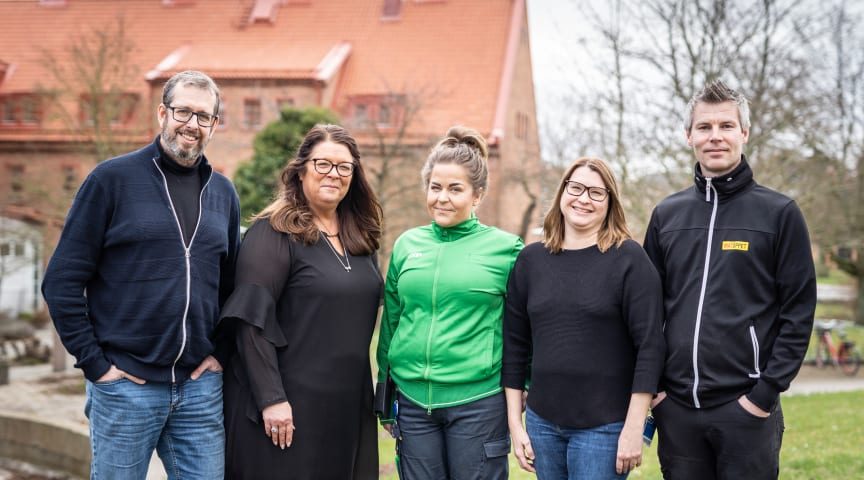 Från vänster: Fredrik Belfrage, Ann-Louise Bolin, Emmy Svensson, Malin Dahlqvist, Jonas Robertsson