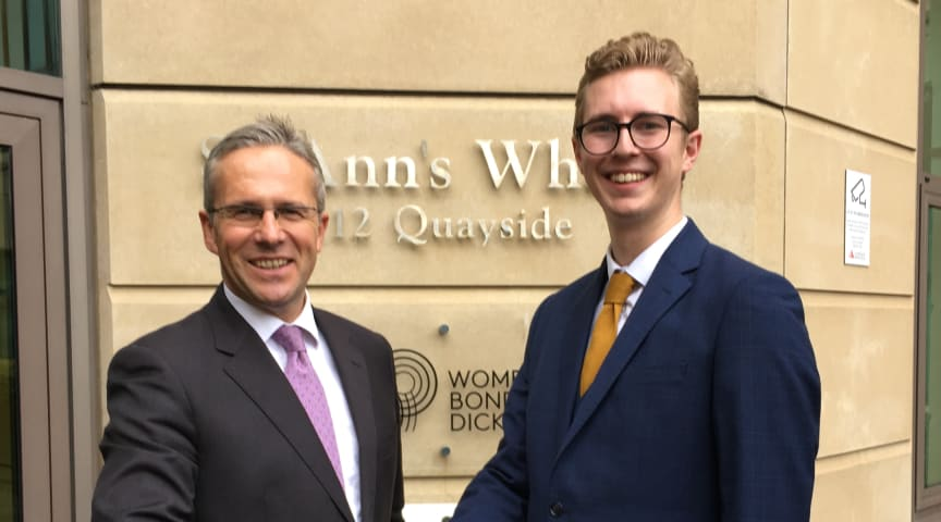 L-R Nigel Emmerson from WBD with Northumbria Law graduate Thomas Brittain