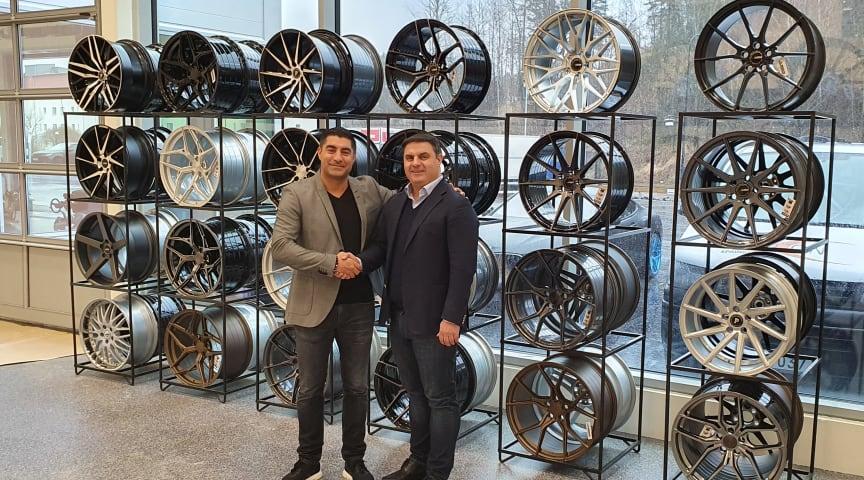 Till vänster; Kave Arastoupour tillsammans med ABS Wheels VD Andie Lahdo