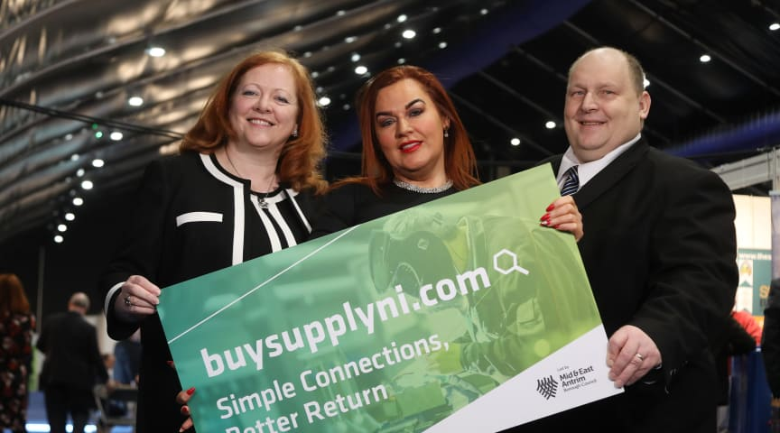 (L-R) Rose Mary Stalker, former Chair of the MTF and current Chair of Invest NI, Chief Executive Anne Donaghy and Councillor Gregg McKeen.