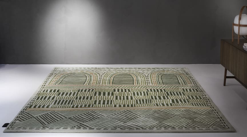 Biblioteket rug - is designed by Emma Olbers for ASPLUND Carpets for the public library in Stockholm's newly renovated National museum. Photo by Louise Billgert
