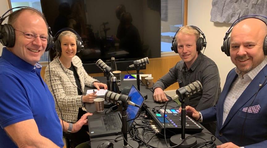 Innspilling av Norconsults podcast Porsjektrådet. Fra venstre: Ketil Søyland, Hege Njå Bjørkmann, Andreas Bratlie og Christian Kamhaug.