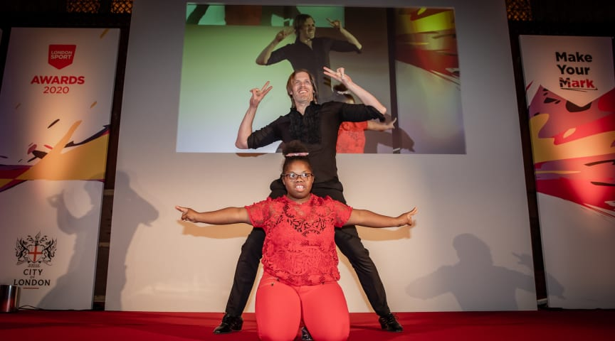 Roche Dupuis (bottom) and Antony Palmer of Step Change Studios perform at the London Sport Awards 2020