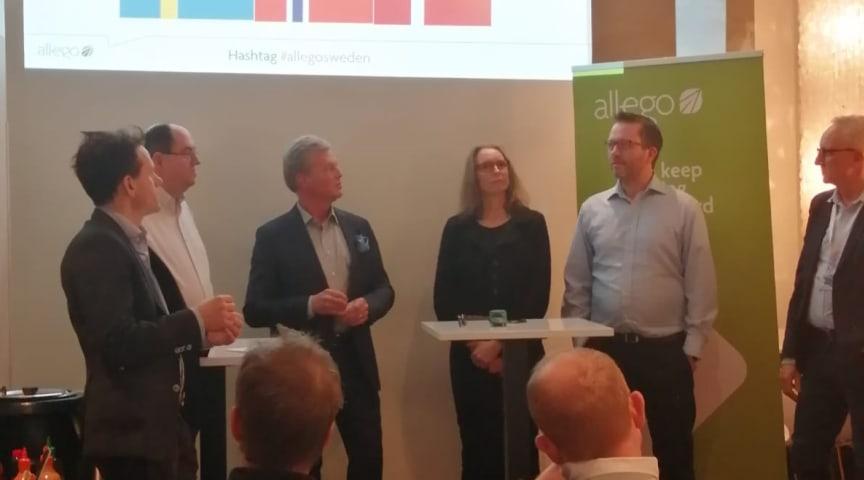 Allego's event i Stockholm med Tobias Henmark (Allego), Tibor Blomhäll (Tesla Sverige), Göran Frederiksson ogJohan Konnberg (Elbil Sverige) og Camilla Messer Thomsen (Danska FDEL)