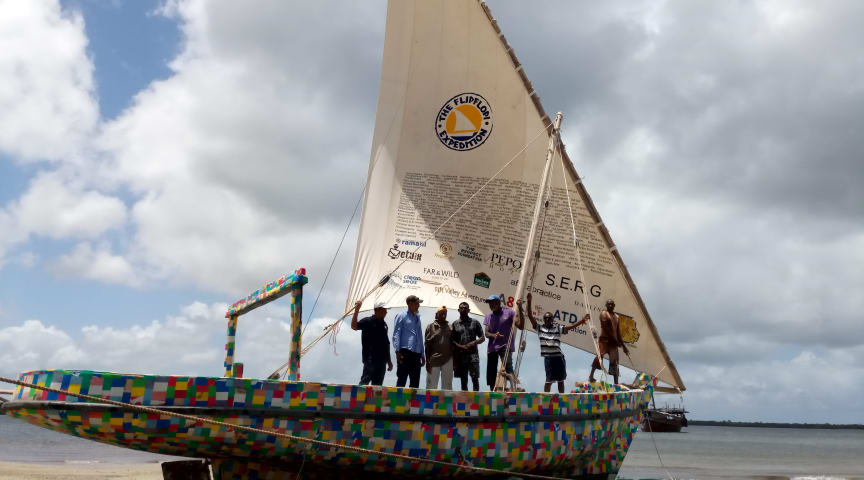 The Flipflopi -  a traditional 'dhow' sailing boat made entirely from rubbish collected from African beaches – including 30,000 flipflops.