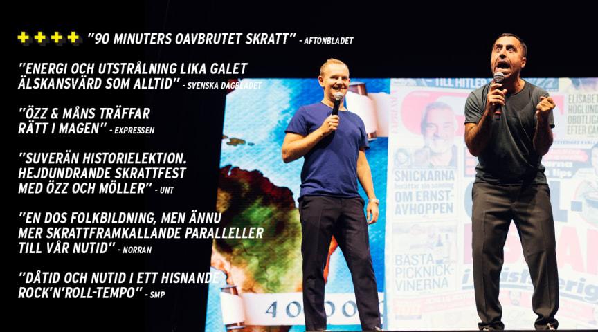 """Succé och utsålt för standupshowen """"Världens Historia - den osminkade sanningen"""" med Özz Nujen och Måns Möller! Nu släpper vi fler datum till höstens turné i hela landet"""