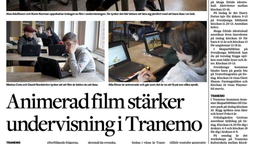 Animerad film stärker undervisning i Tranemo