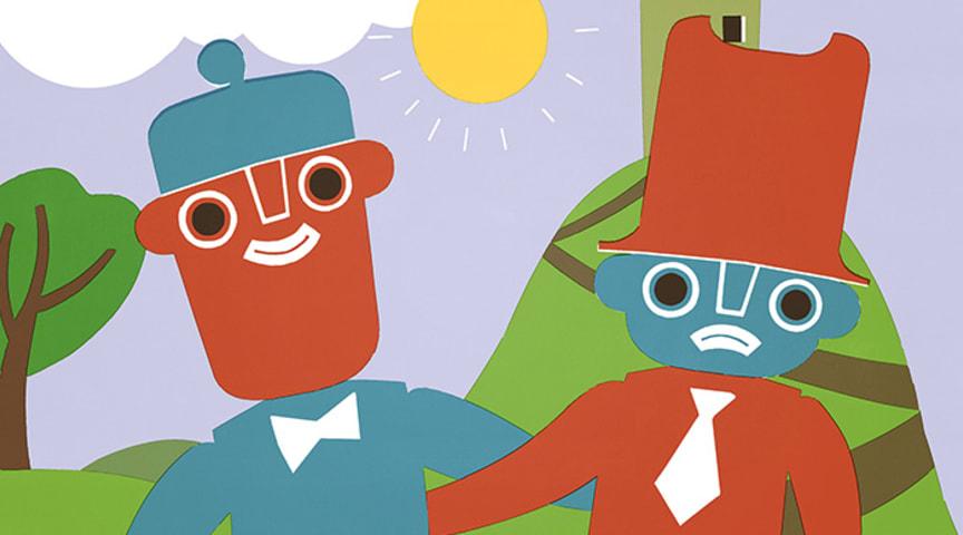 Jakob og Neikob er ulike - men gode venner likevel. Illustrasjon: Kari Stai.