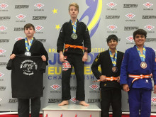 Billy Hayes on top of the podium at the European Championships