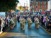 Fusiliers march along South Parade
