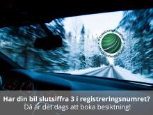 Nu kan du besikta ditt slutsifferstyrda fordon med slutsiffra 3