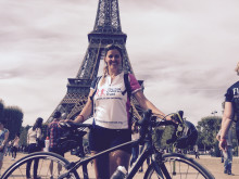 Midwife cycles from London to Paris for The Sick Children's Trust