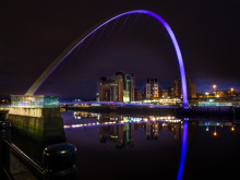 ​Gateshead Millennium Bridge lights up purple to celebrate Make May Purple