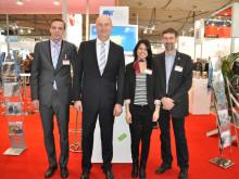 Brandenburgs Ministerpräsident Dietmar Woidke auf dem CeBIT-Stand der Technischen Hochschule Wildau